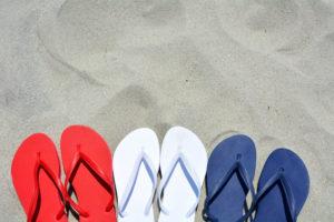 Flip flops red white blue